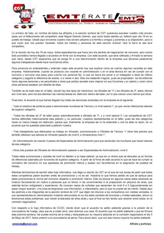 Cgt emt informa sobre acuerdo de convenio cgt pa s for Fuera de convenio 2017